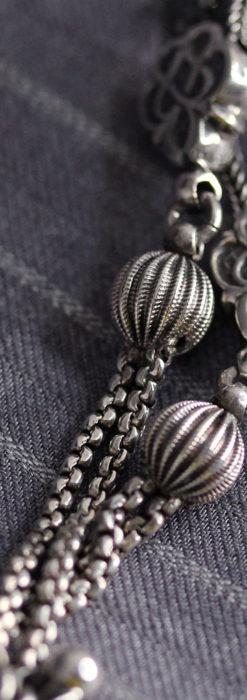 繊細な飾りの綺麗な銀無垢アンティーク懐中時計チェーン-C0469-7