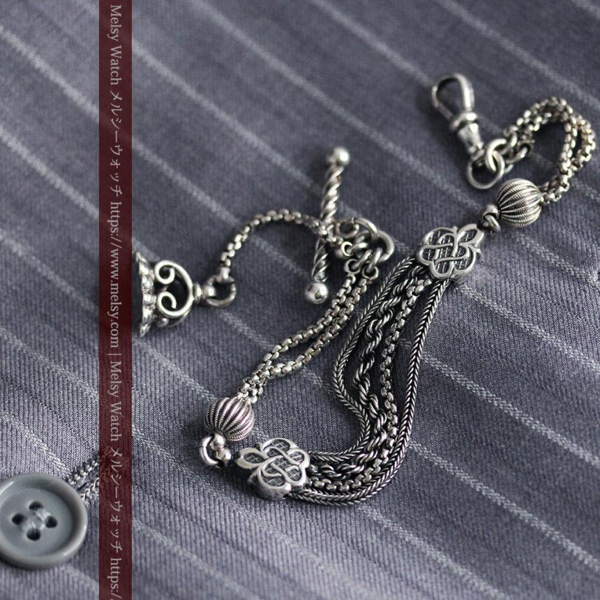 繊細な飾りの綺麗な銀無垢アンティーク懐中時計チェーン-C0469-8