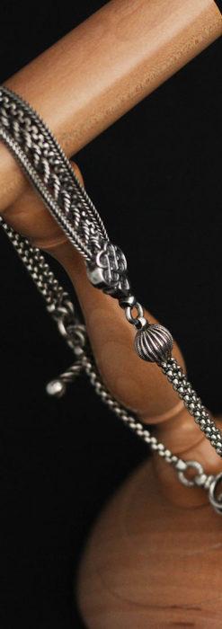 繊細な飾りの綺麗な銀無垢アンティーク懐中時計チェーン-C0469-9