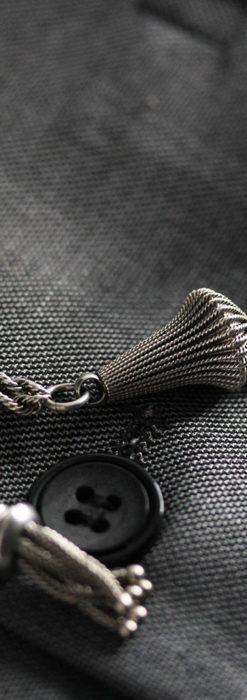 繊細かつ豪華な円錐状の飾り付き銀無垢アンティーク懐中時計チェーン-C0470-1