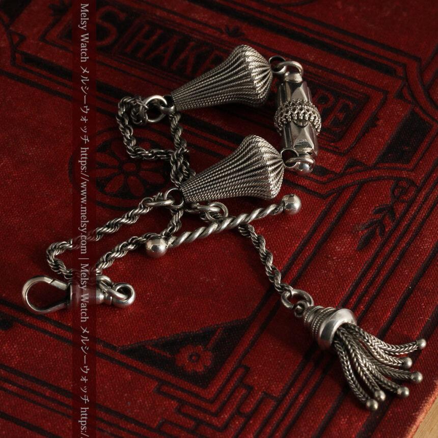 繊細かつ豪華な円錐状の飾り付き銀無垢アンティーク懐中時計チェーン-C0470-12