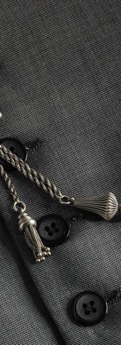 繊細かつ豪華な円錐状の飾り付き銀無垢アンティーク懐中時計チェーン-C0470-5