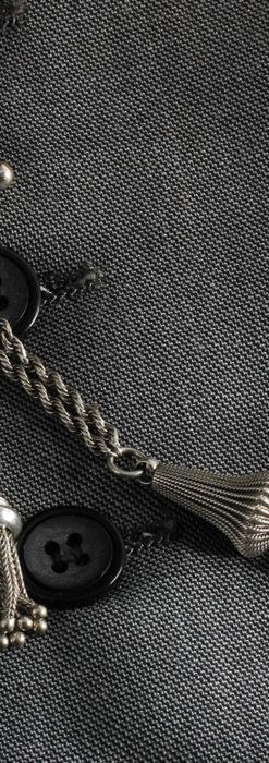 繊細かつ豪華な円錐状の飾り付き銀無垢アンティーク懐中時計チェーン-C0470-8