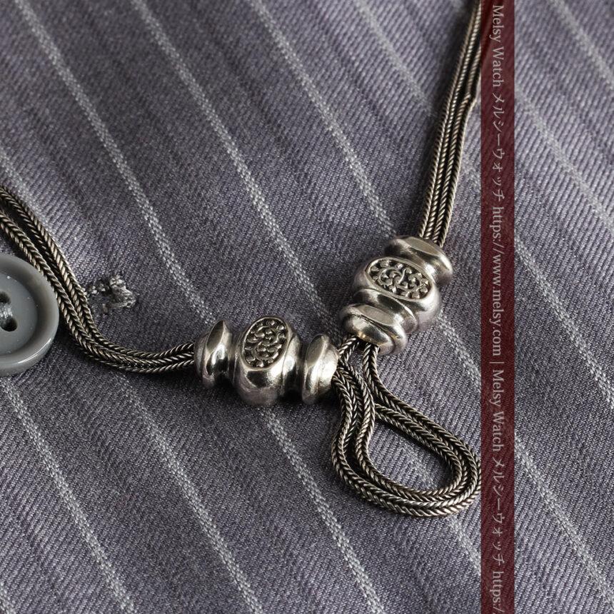 三つ揃いの飾りが映える 銀無垢アンティーク懐中時計チェーン-C0471-5