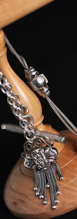 三つ大きな飾り付き 銀無垢アンティーク懐中時計チェーン-C0472-10