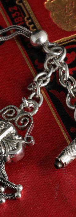 三つ大きな飾り付き 銀無垢アンティーク懐中時計チェーン-C0472-11