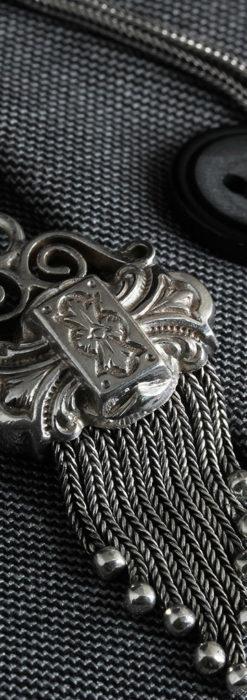 三つ大きな飾り付き 銀無垢アンティーク懐中時計チェーン-C0472-4
