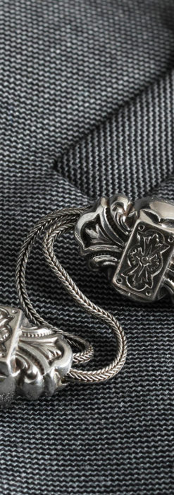 三つ大きな飾り付き 銀無垢アンティーク懐中時計チェーン-C0472-5