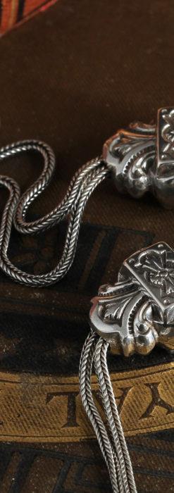 三つ大きな飾り付き 銀無垢アンティーク懐中時計チェーン-C0472-8