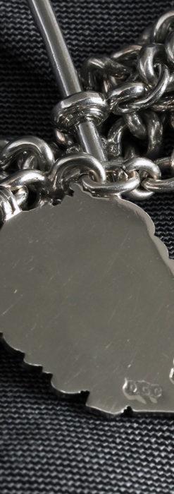 二股の銀無垢アンティーク懐中時計チェーン 騎士と青い盾飾り 【1922年頃】-C0473-6