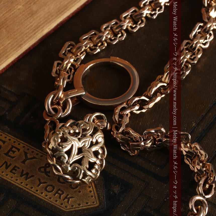 雰囲気ある西欧フランスのアンティーク懐中時計チェーン-C0474-10