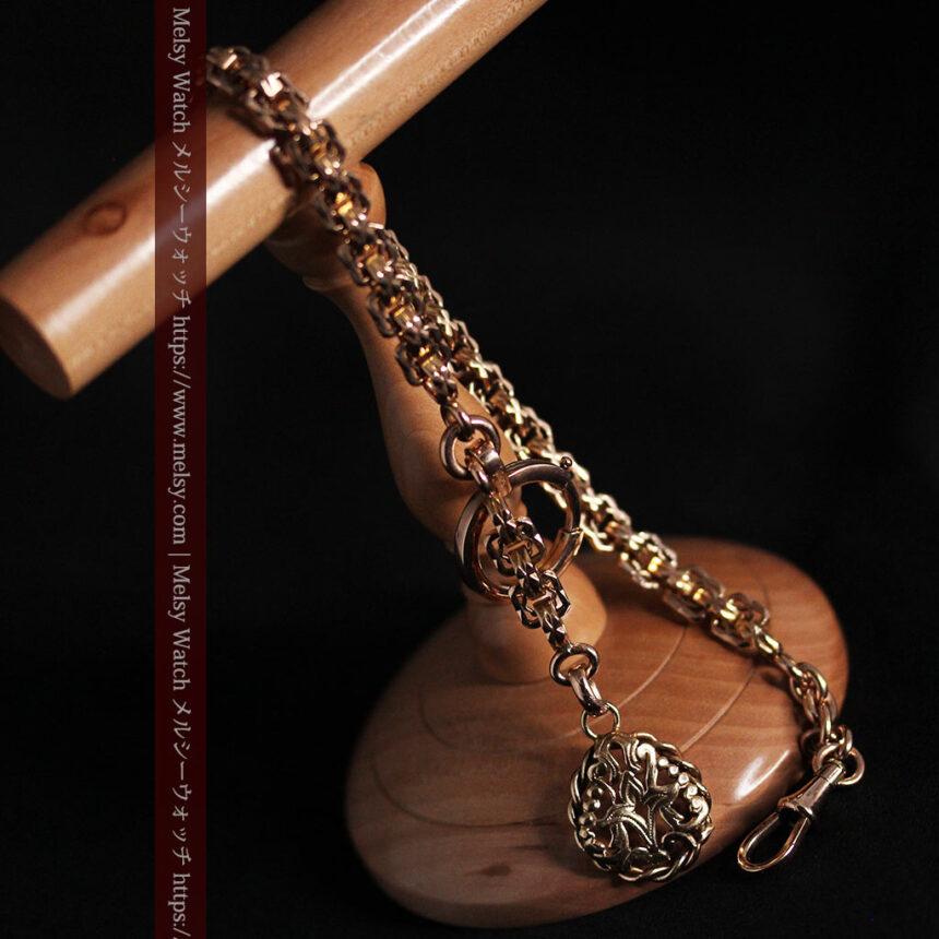 雰囲気ある西欧フランスのアンティーク懐中時計チェーン-C0474-11