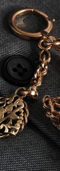 雰囲気ある西欧フランスのアンティーク懐中時計チェーン-C0474-3