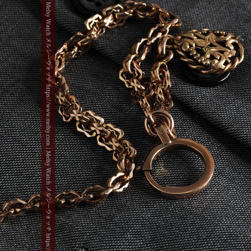 雰囲気ある西欧フランスのアンティーク懐中時計チェーン-C0474-6