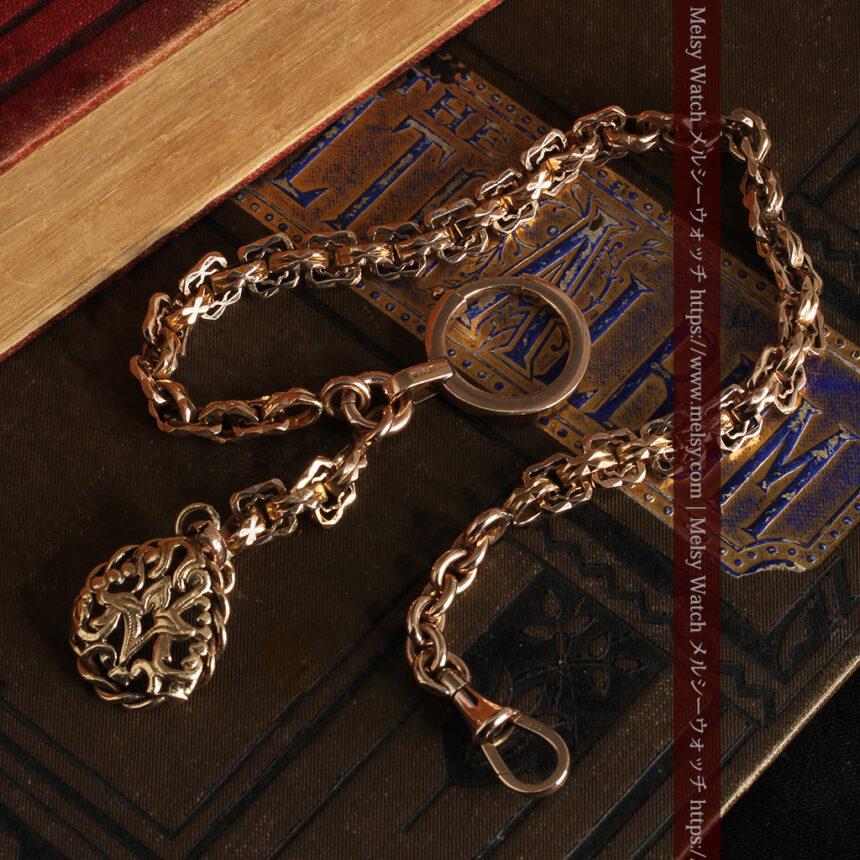 雰囲気ある西欧フランスのアンティーク懐中時計チェーン-C0474-9