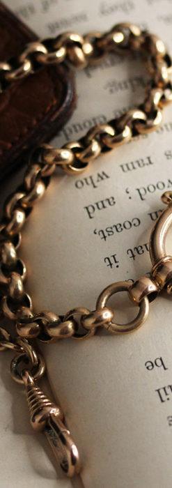 存在感ある大きなリングが付いたアンティーク懐中時計チェーン-C0475-4