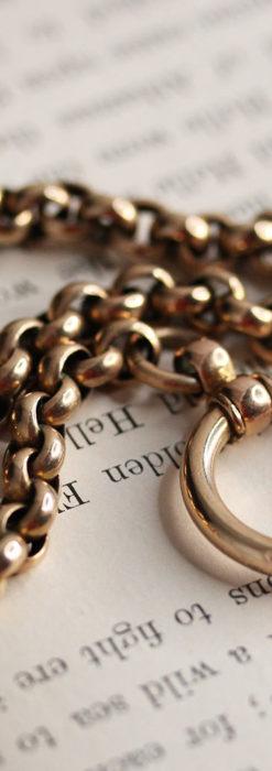 存在感ある大きなリングが付いたアンティーク懐中時計チェーン-C0475-5