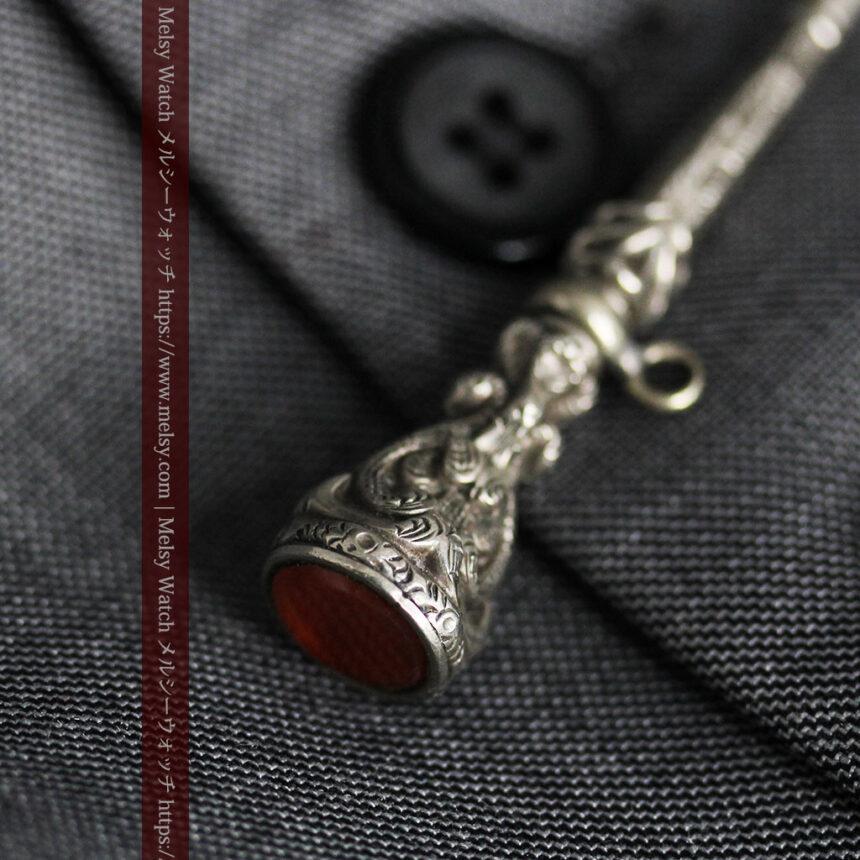 銀無垢の装飾の綺麗なアンティーク鍵巻き-C0476-5