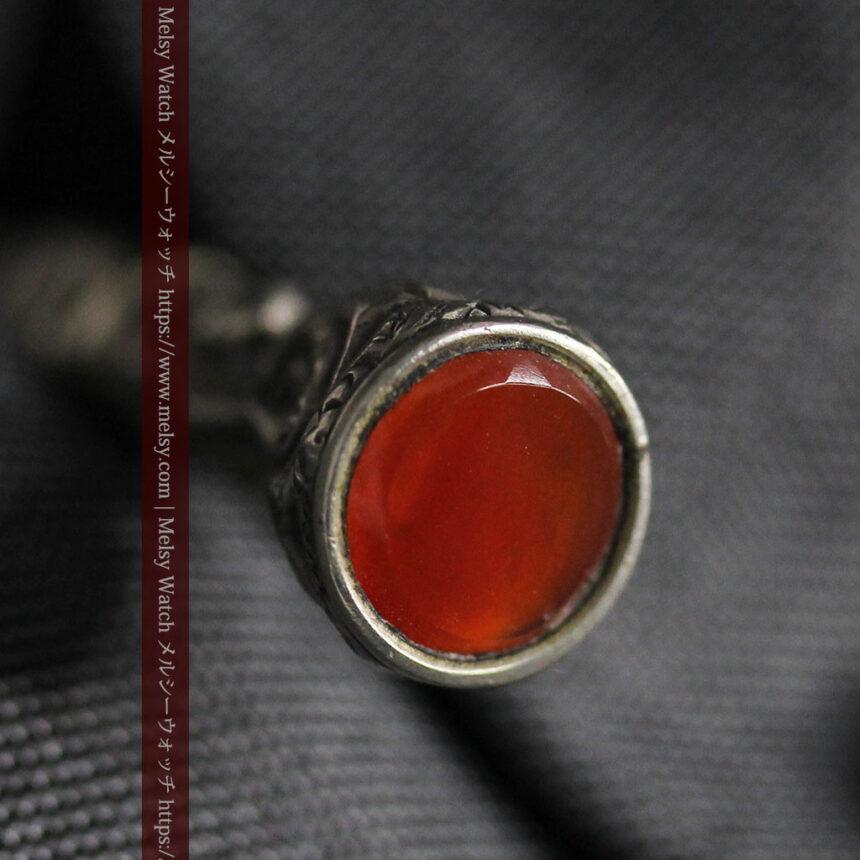 銀無垢の装飾の綺麗なアンティーク鍵巻き-C0476-6