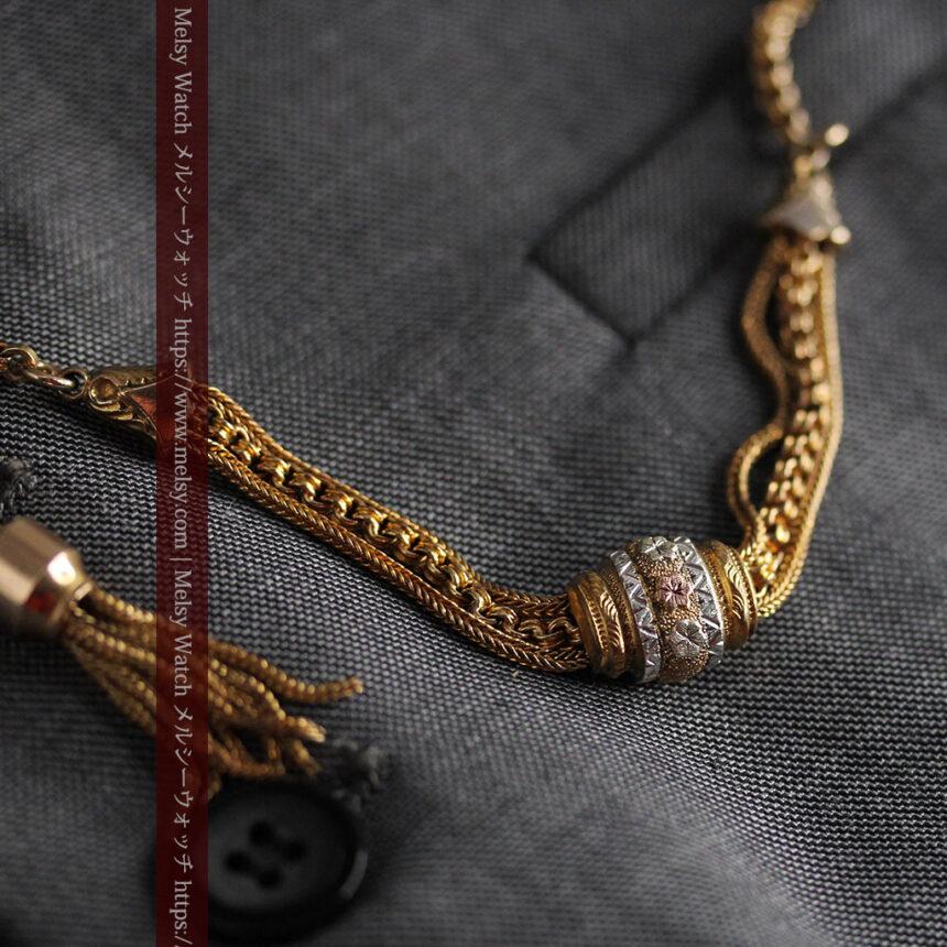 華やかさと上品さを併せ持つ、美しきアンティーク懐中時計チェーン-C0477-1