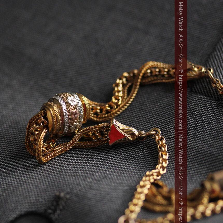 華やかさと上品さを併せ持つ、美しきアンティーク懐中時計チェーン-C0477-4