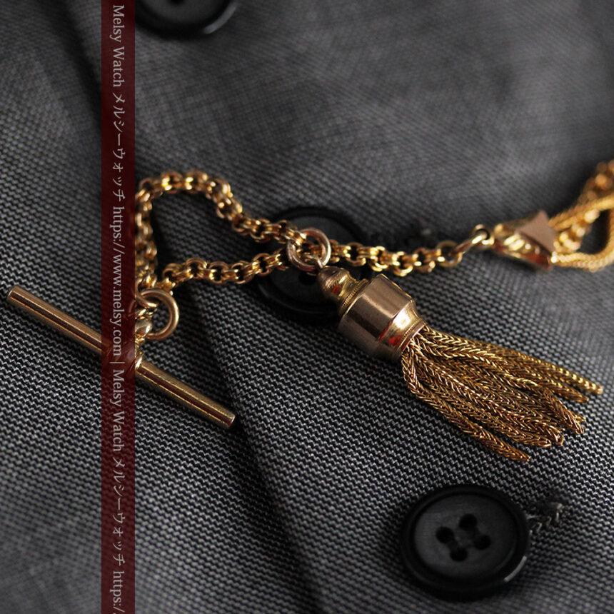 華やかさと上品さを併せ持つ、美しきアンティーク懐中時計チェーン-C0477-8