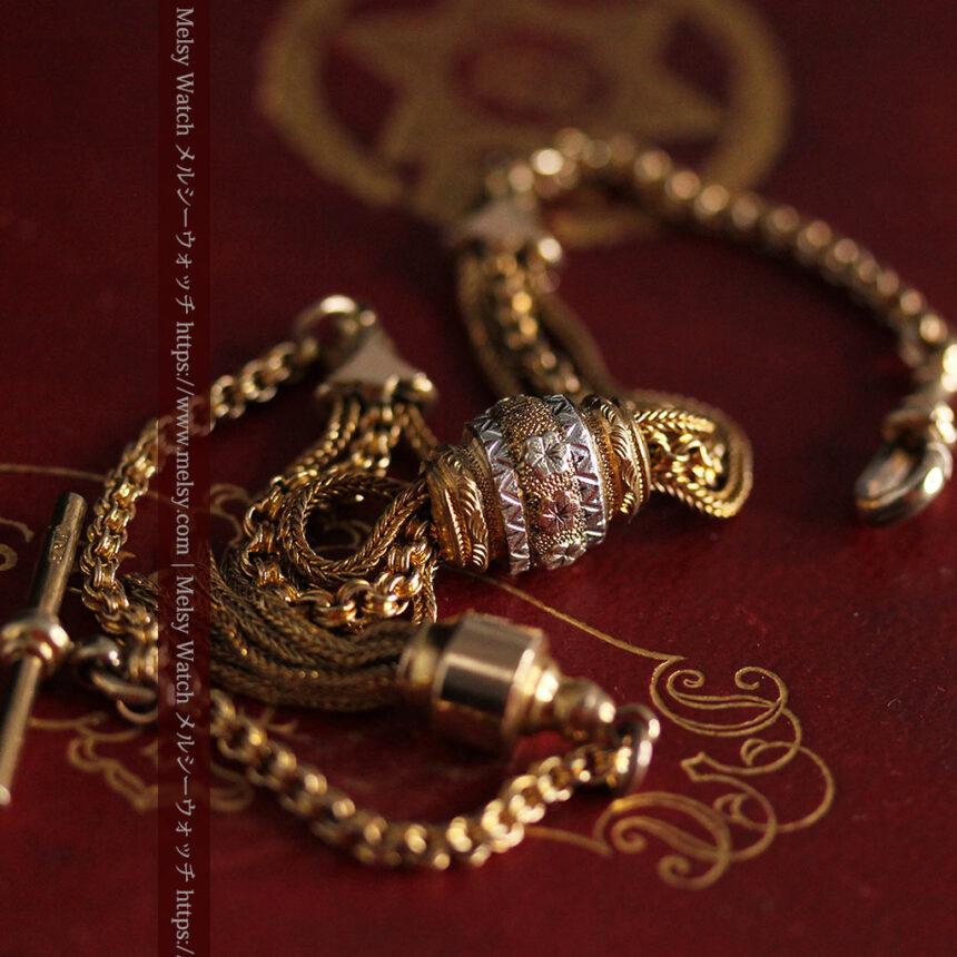 華やかさと上品さを併せ持つ、美しきアンティーク懐中時計チェーン-C0477-9