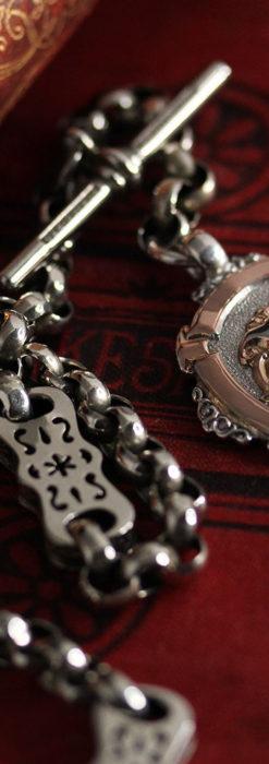 雰囲気の良いアンティークチェーンと2色の銀無垢飾り-C0478-8