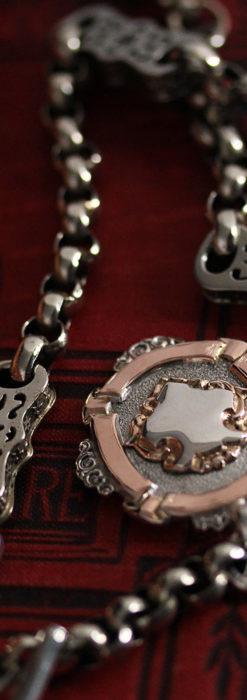雰囲気の良いアンティークチェーンと2色の銀無垢飾り-C0478-9