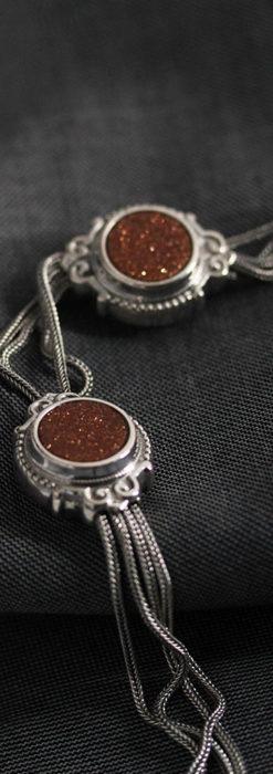 立体的な丸い石飾りの付いたアンティーク銀無垢チェーン-C0479-2