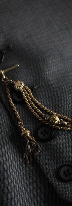 玉飾りなど装飾の綺麗な懐中時計チェーン 飾り付き複線-C0480-2