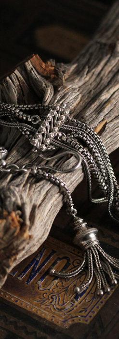 綺麗な装飾と5本の並びが綺麗なアンティーク銀無垢チェーン-C0481-1