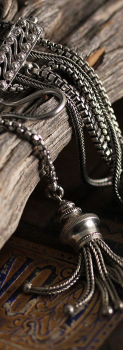 綺麗な装飾と5本の並びが綺麗なアンティーク銀無垢チェーン-C0481-2