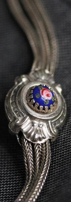 立体的な青い飾りの綺麗な銀のアンティーク懐中時計チェーン-C0482-10
