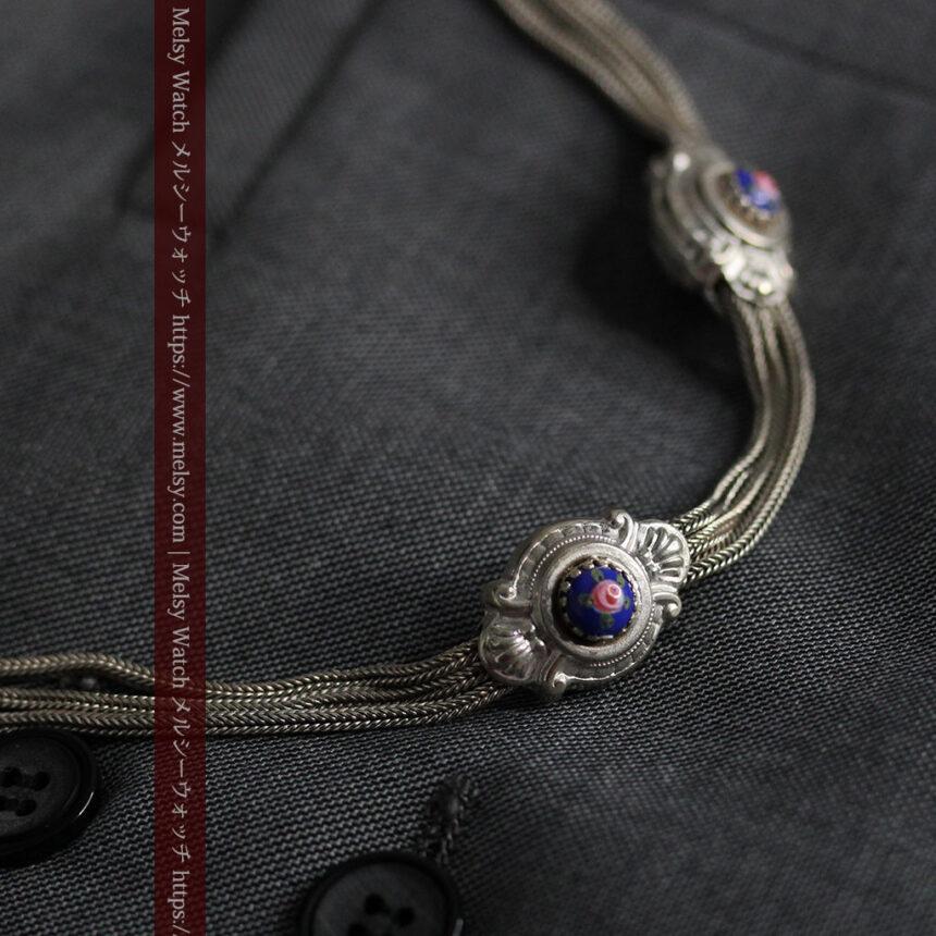 立体的な青い飾りの綺麗な銀のアンティーク懐中時計チェーン-C0482-11