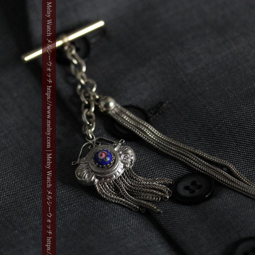 立体的な青い飾りの綺麗な銀のアンティーク懐中時計チェーン-C0482-12