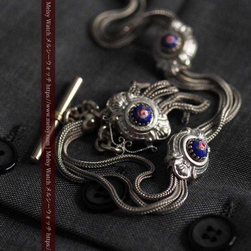 立体的な青い飾りの綺麗な銀のアンティーク懐中時計チェーン-C0482-13
