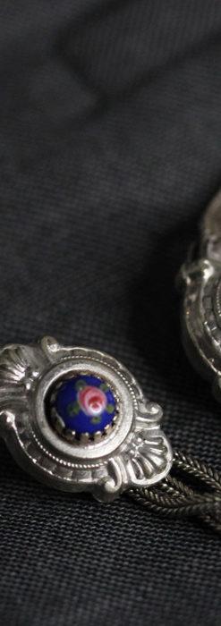 立体的な青い飾りの綺麗な銀のアンティーク懐中時計チェーン-C0482-14