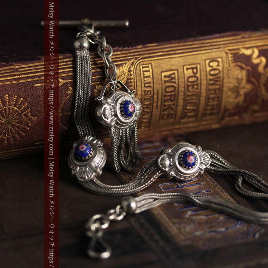 立体的な青い飾りの綺麗な銀のアンティーク懐中時計チェーン-C0482-2