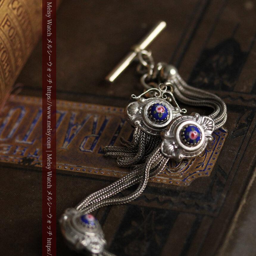 立体的な青い飾りの綺麗な銀のアンティーク懐中時計チェーン-C0482-3