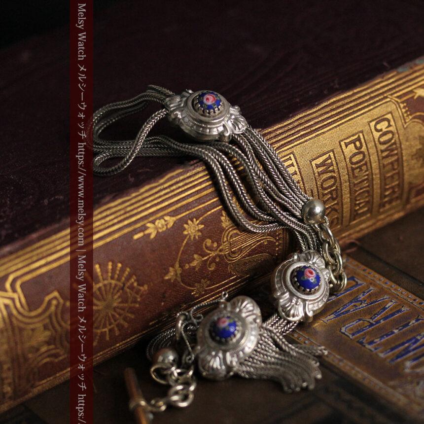 立体的な青い飾りの綺麗な銀のアンティーク懐中時計チェーン-C0482-4