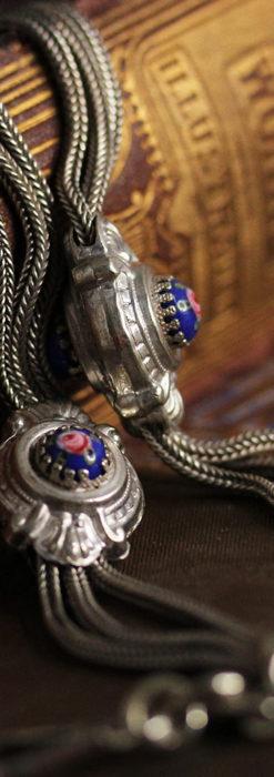 立体的な青い飾りの綺麗な銀のアンティーク懐中時計チェーン-C0482-5