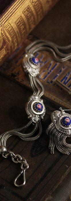 立体的な青い飾りの綺麗な銀のアンティーク懐中時計チェーン-C0482-6