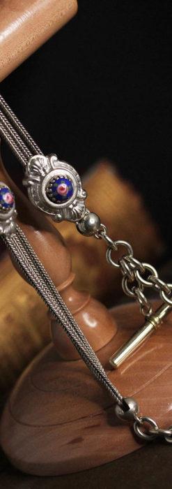 立体的な青い飾りの綺麗な銀のアンティーク懐中時計チェーン-C0482-7