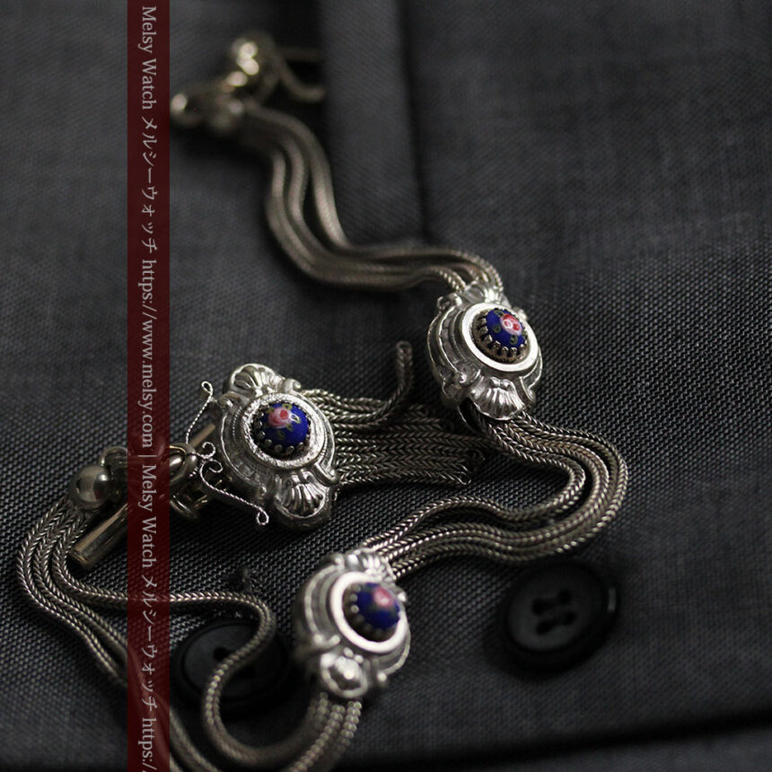 立体的な青い飾りの綺麗な銀のアンティーク懐中時計チェーン-C0482-8