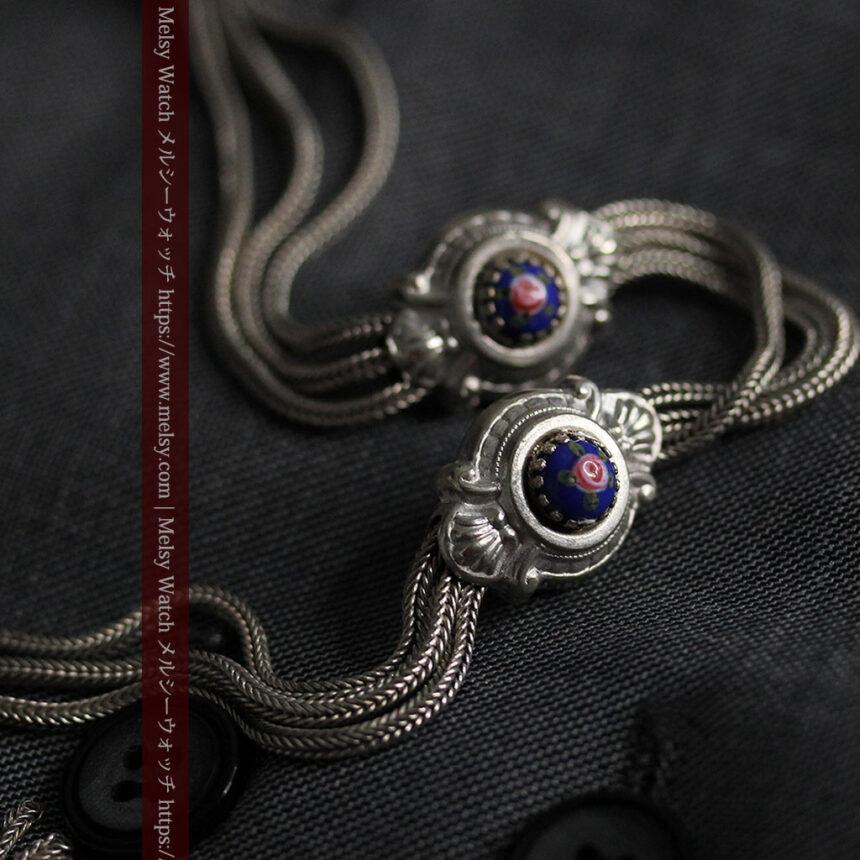 立体的な青い飾りの綺麗な銀のアンティーク懐中時計チェーン-C0482-9