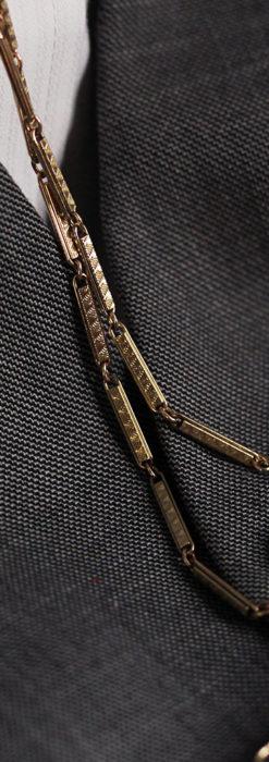 装飾の綺麗な細めの懐中時計チェーン-C0484-9