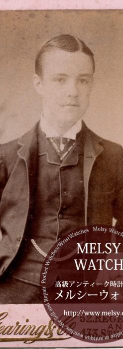 つぶらな瞳の青年の写真 【1900年頃】 懐中時計チェーン-I4070