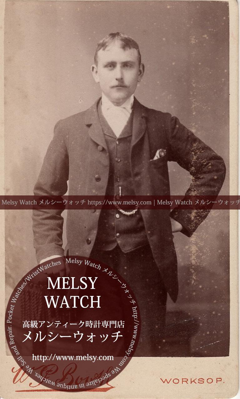 手を掛け直立する紳士 【1900年頃】 懐中時計チェーン-I4073