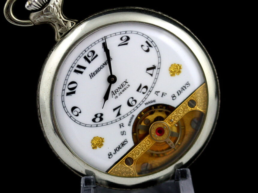 ヘブドマスのアンティーク8日巻き懐中時計-P2077-10